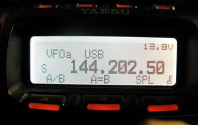 857D Screen showing 2 meter SSB Frequency